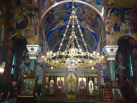 Exterior e interior do templo de St. Sava
