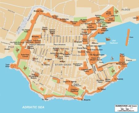 Mapa da cidade vella de Dubrovnik